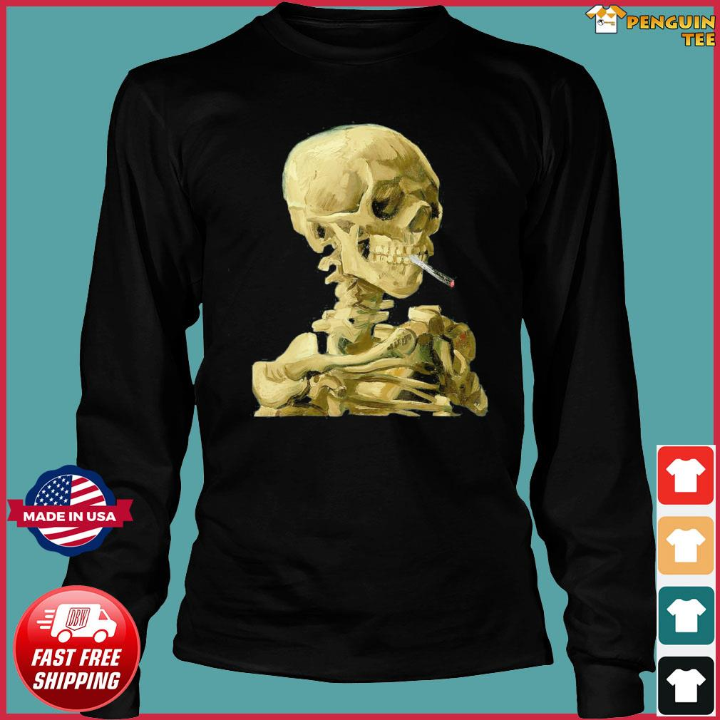 Vincent Van Gogh Skull With Cigarette Skeleton T-Shirt Long Sleeve Tee