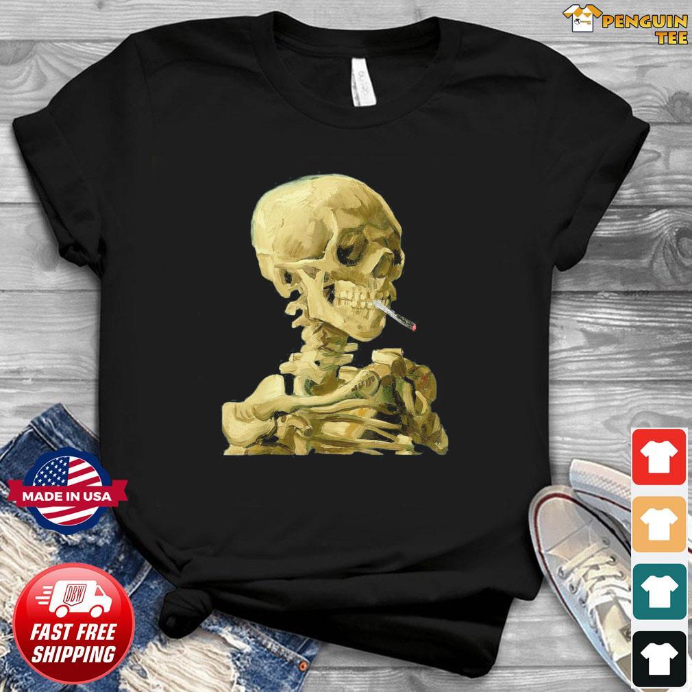 Vincent Van Gogh Skull With Cigarette Skeleton T-Shirt