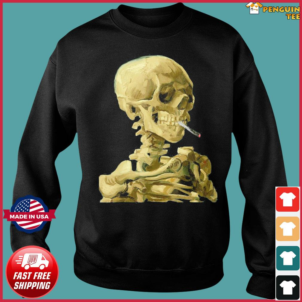Vincent Van Gogh Skull With Cigarette Skeleton T-Shirt Sweater