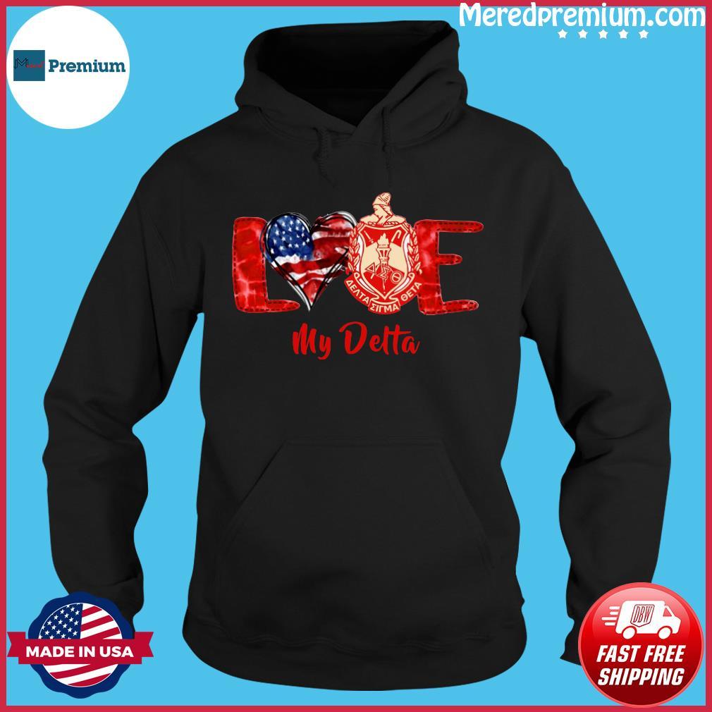 Love Heart American Flag Delta Sigma Theta Shirt Hoodie