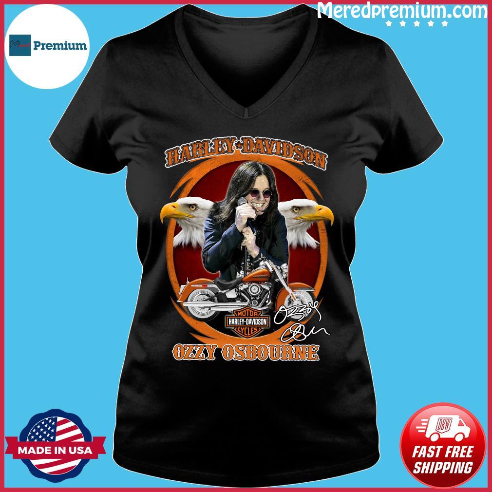 Motor Harley Davidson Cycles Ozzy Osbourne Signature Shirt Ladies V-neck