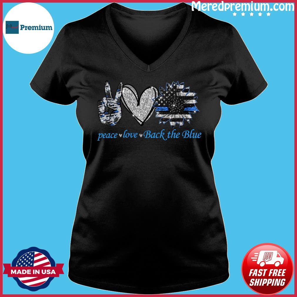 Peace Love Back The Blue Shirt Ladies V-neck