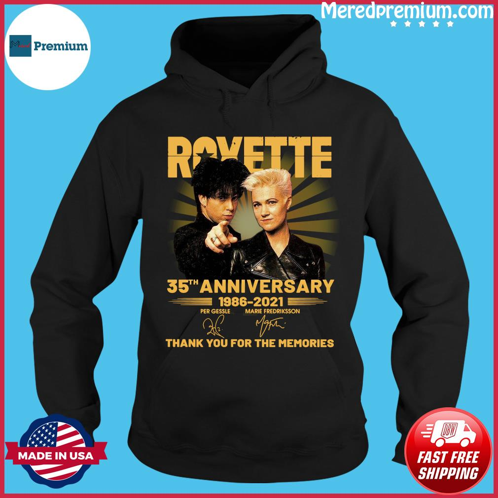 Roxette 35th Anniversary 1986 2021 Thank You For The Memories Signatures Shirt Hoodie