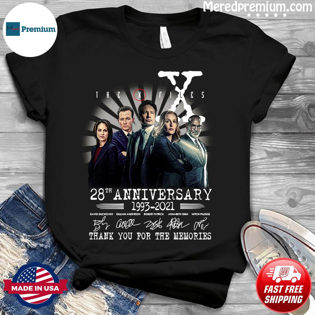 The X Files 28th Anniversary 1993 2021 Thank You For The Memories Signatures Shirt