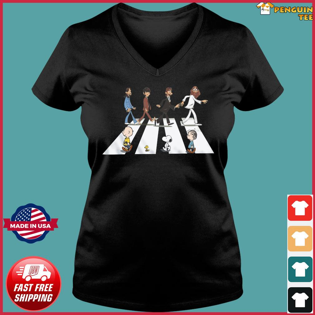 The Beatles And Snoopy Walking Across Shirt Ladies V-neck Tee
