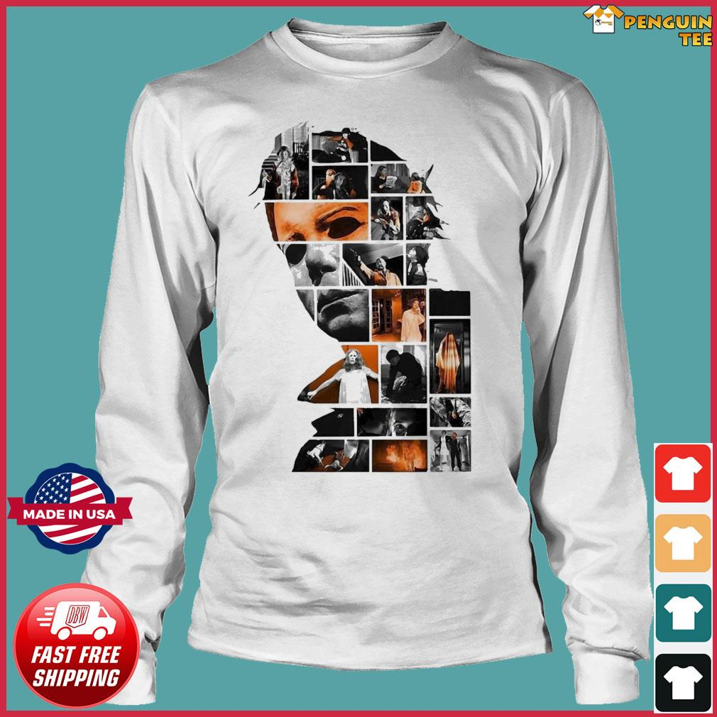 Michael Myers Face Collage Character Halloween Shirt Long Sleeve