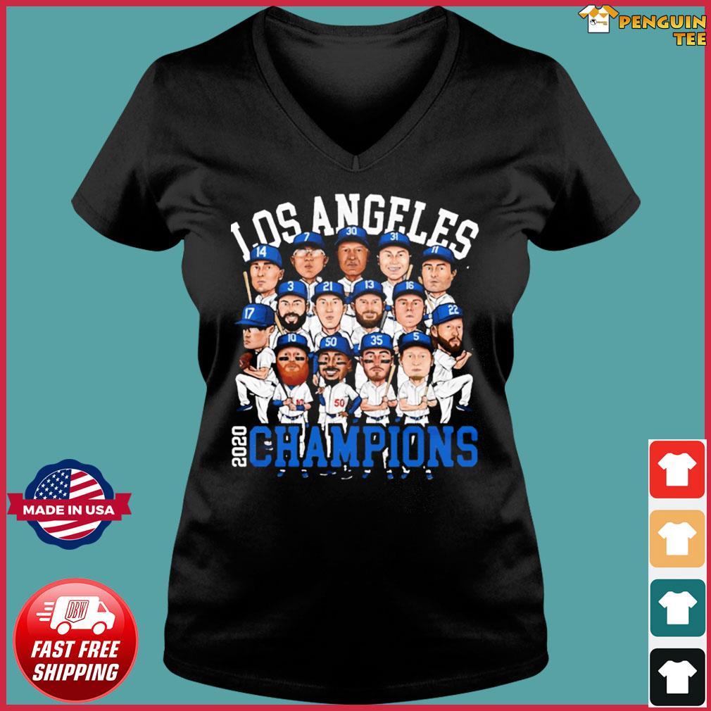2020 World Series Champions Los Angeles Shirt – Team LA Dodgers 2020 Champions T-Shirt Ladies V-neck Tee