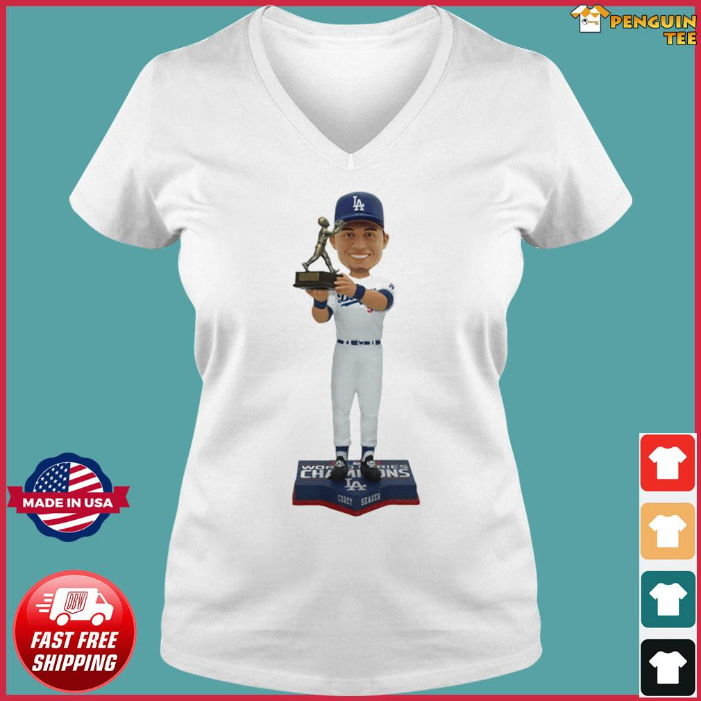 Corey Seager Los Angeles Dodgers 2020 World Series Champions MVP T-Shirt Ladies V-neck Tee