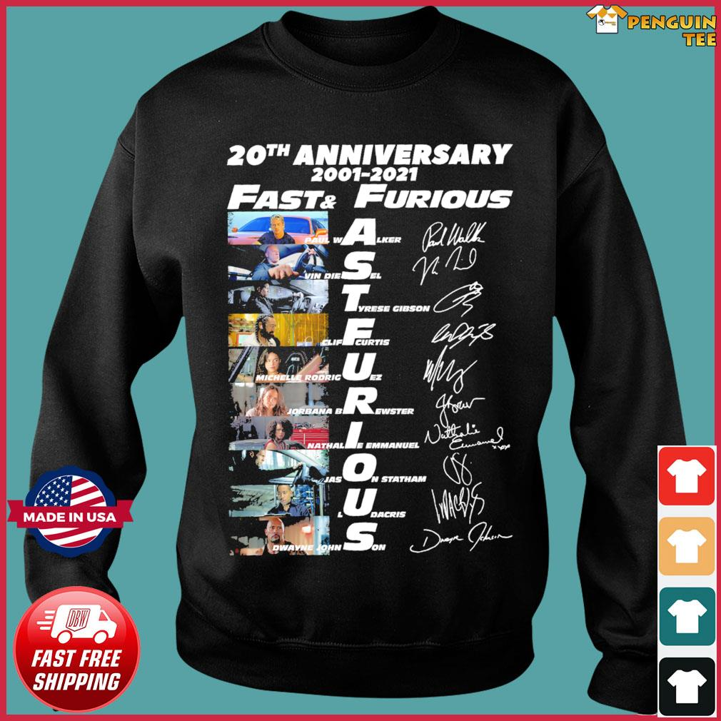 Fast And Furious 20th Anniversary 2001 2021 Signatures Shirt Sweater