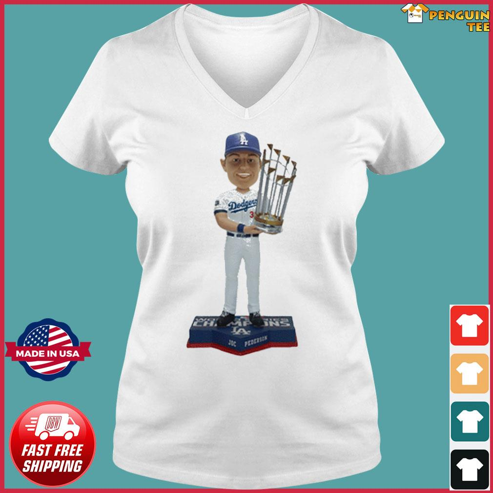 Los Angeles Dodgers 2020 World Series Champions Joc Pederson T-Shirt Ladies V-neck Tee