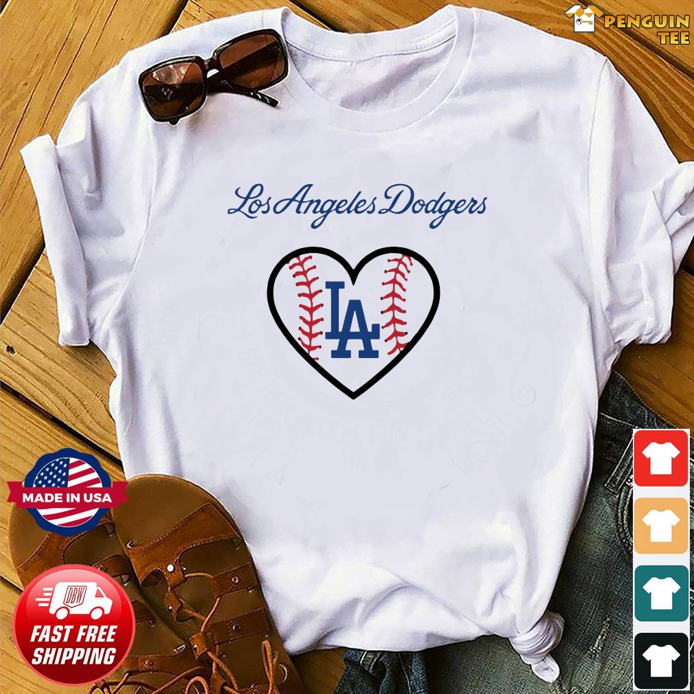 Los Angeles LA Dodgers Heart Logo Baseball Shirt