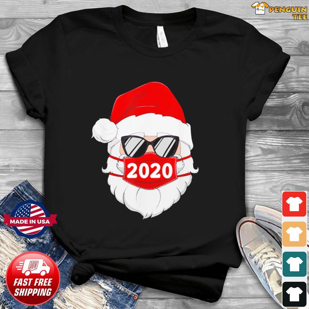 Santa With Face Mask Christmas 2020 Family Pajamas Xmas Gift Shirt