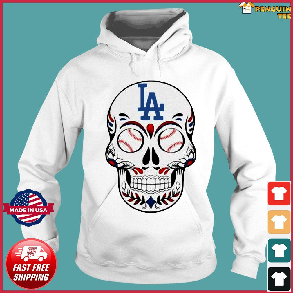 Skull Los Angeles LA Dodgers Logo Baseball Shirt Hoodie