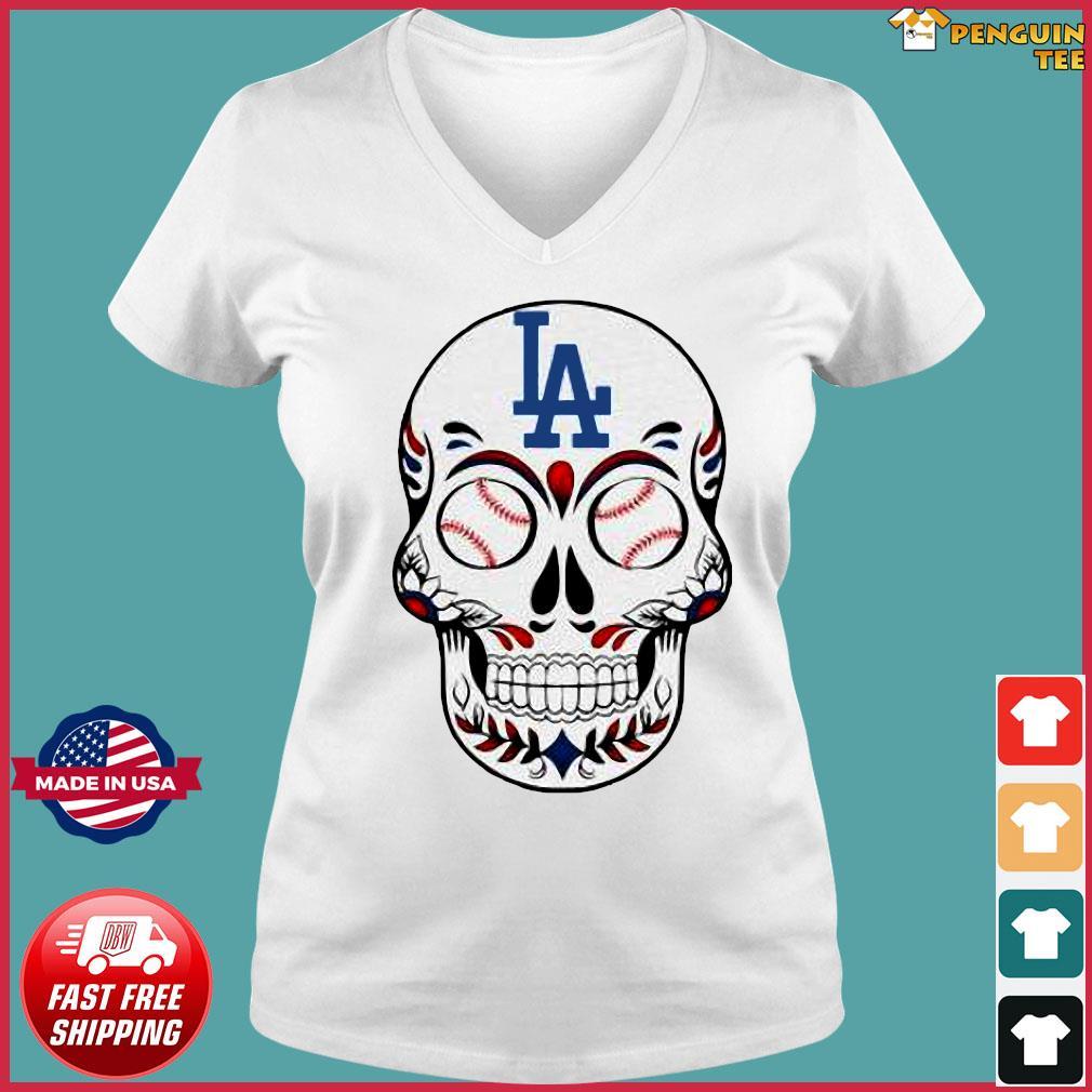 Skull Los Angeles LA Dodgers Logo Baseball Shirt Ladies V-neck Tee