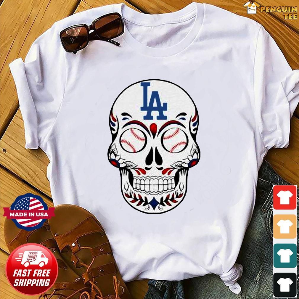 Skull Los Angeles LA Dodgers Logo Baseball Shirt