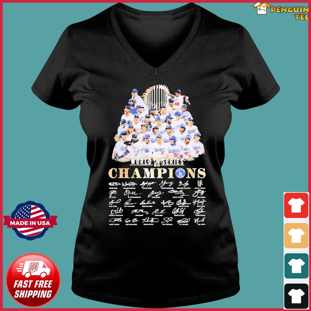 Team Los Angeles Dodgers player world 2020 series Champions signatures T-Shirt Ladies V-neck Tee