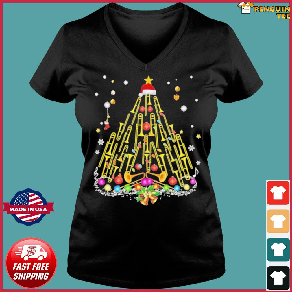 Trumpet Merry Christmas s Ladies V-neck Tee