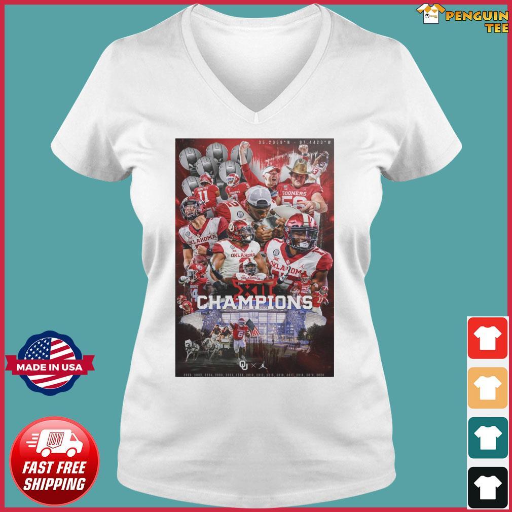 Official Oklahoma Sooners Team Football Players Champions 2021 Shirt Ladies V-neck Tee